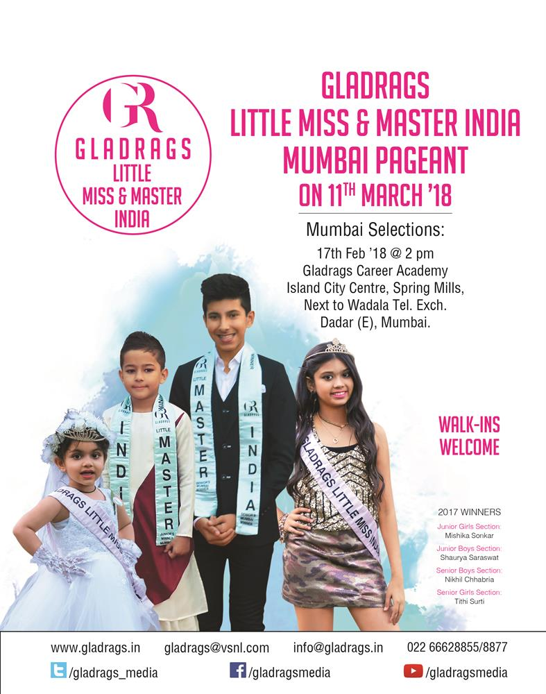 Gladrags Little Miss & Master India  Mumbai Selections on 17th Feb 2018